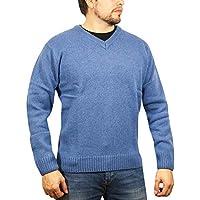 jacksmith Men's Shetland Wool V-Neck Cardigan Sweater Ragg Knitted Jumper Pullover (Large, Blue)