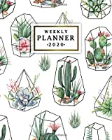 Weekly Planner 2020: Monthly Weekly Daily Views with To-Do's, Funny Holidays & Inspirational Quotes, Vision Boards, Notes & More | 2020 Organizer, Agenda & Diary | Cute Potted Cactus & Geometric Print