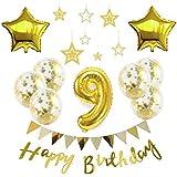 【Big Hashi 】お子様誕生日パーティー HAPPY BIRTHDAY アルミニウム 数字(9)星バルーン(2個)バルーンゴールド 誕生日 飾り付け セット (js-xin09)