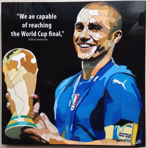 カンナバーロ イタリア代表ワールドカップ優勝 海外製 サッカーグラフィックアートパネル 木製ポスター インテリア