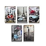 1stモール クラシカルプレート 5種類セット 壁掛け 大人 インテリア 世界 車 おしゃれ アート 絵画 コンパクト 部屋 ST-CLASPLATE