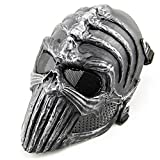 New Arrival Outdoor Hunting Cover Overhead Skull Mask Cs Wargame Mask Skeleton Airsoft Paintball Full Face Tactical Protective Mask Gift (Silver)