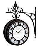 北欧家具にも合う外国風のおしゃれな壁掛け(かべかけ)時計レアなアンティーク風ブラウン両面クロック360度回転 (BROWN)