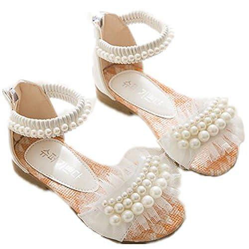 (チェリーレッド)CherryRed 女の子 ドレスシューズ サンダル レース 真珠 ファスナー 白 35