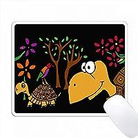楽しいカメと木フォークアートオリジナル PC Mouse Pad パソコン マウスパッド