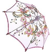 ノーブランド品 可愛い 花  傘  18インチアメリカンガールドール用  アクセサリー 4色選べる - ピンク
