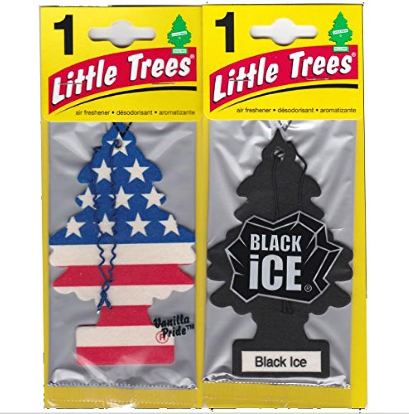 ローン楕円形テープLittle Trees 吊下げ式 芳香剤 エアーフレッシュナー ブラックアイス & バニラプライド [並行輸入品]
