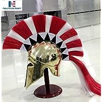 NAUTICALMARTギリシャコリントヘルメットW /レッド&ホワイトPlume中世Corinthian Armourヘルメット