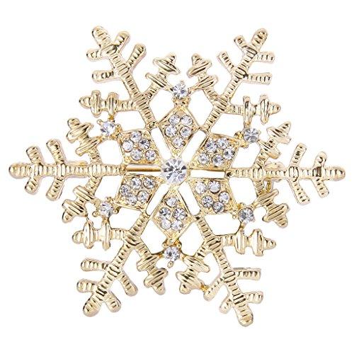 [해외][엘레 퀸] EleQueen 골드 톤 합금 오스트리아 크리스탈 눈송이 클리어 브로치 [병행 수입품]/[Elequeen] EleQueen gold tone alloy Austrian crystal snow crystal clear brooch [Parallel import goods]
