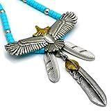 大人気 フェザーネックレス ペンダント 羽 ブルー 革ひも イーグル ビーズ 鷲 鷹 インディアン シルバー色 メンズ レディース アクセサリー ネイティブアメリカン 羽根