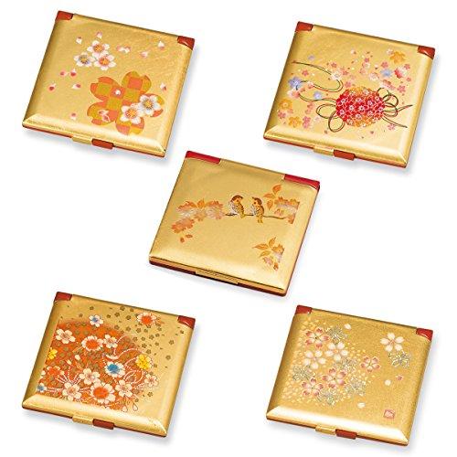 手鏡 ハンドミラー 和風 和柄 箔工芸 角コンパクトミラー(桜ロマン)