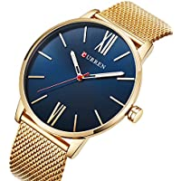 Curren Men Watches Top Brand Ultra thin Dial Luxury Quartz Men Watch Waterproof Casual Sport (GOLD BLUE)