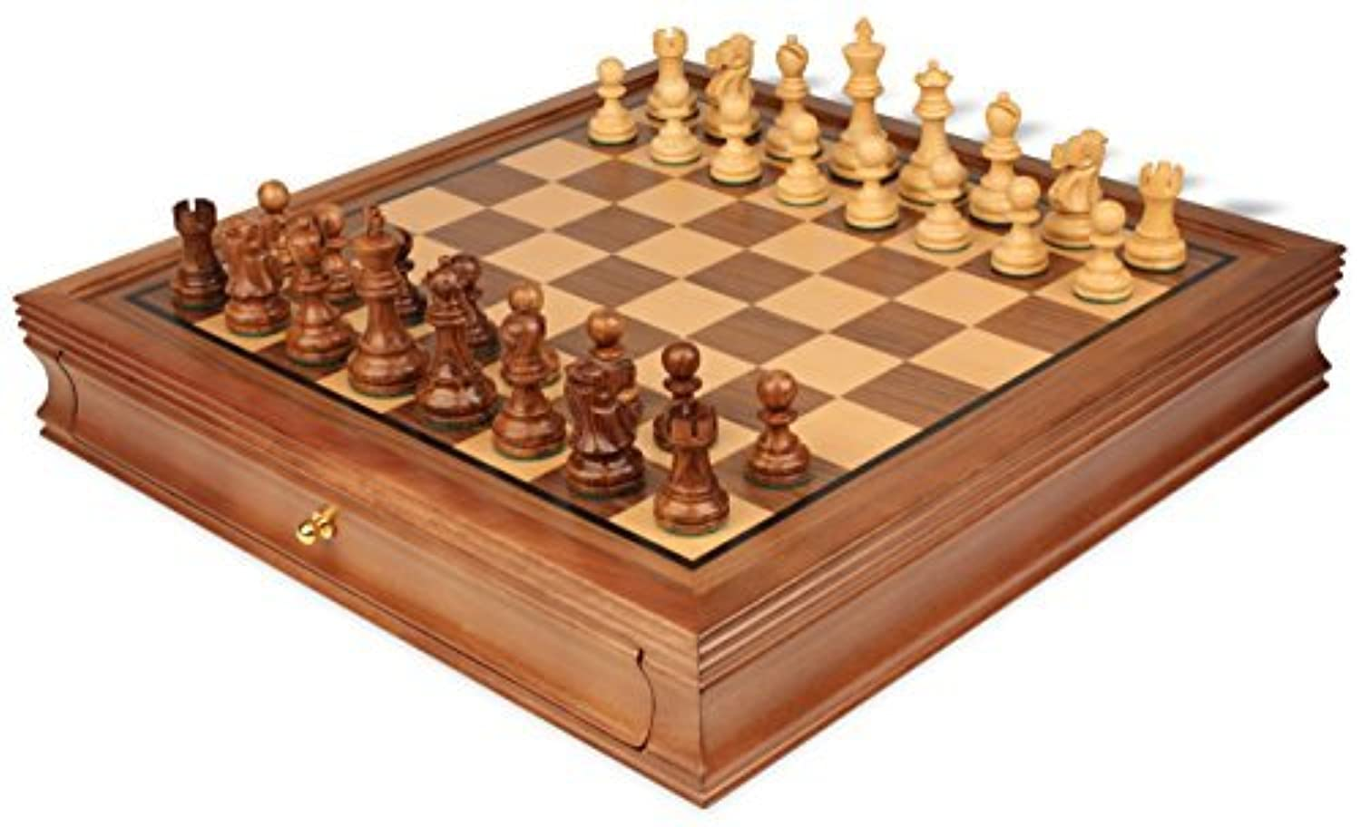 Deluxe Old Club Staunton Chess Set in Golden Rosewood & Boxwood with Walnut Chess Case - 3.25