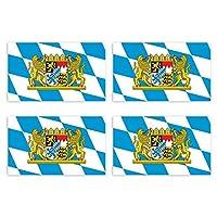 KIWISTAR 4,5 x 2,7 cm ステッカー - Bavaria バイエルン州 4ピース国家バンパーステッカー国旗紋章旗ステッカーライセンスプレート