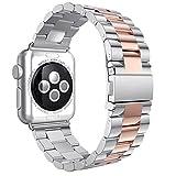 Apple Watch バンド Sakula 高品質ステンレス アップルウォッチ ベルト Apple Watch Series 2 バンド 38mm(ローズゴールド/シルバー)