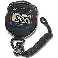 PerPure ストップウォッチ デジタル 大画面 防水 1/100秒計測 時計 メモリ カレンダー アラーム スプリット計測 ストラップ紐付き ブラック