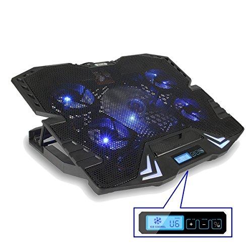 MECO ノートブッククーラー 超静音 強力冷却パッド ノートパソコンラジエータ USB給電 LEDランプ 折りたたみ 放熱 パソコンを 自由な高度を調節できる ートパソコンPC用 冷却ファン 5ファン ノートPCクーラー 15.6インチ型まで対応