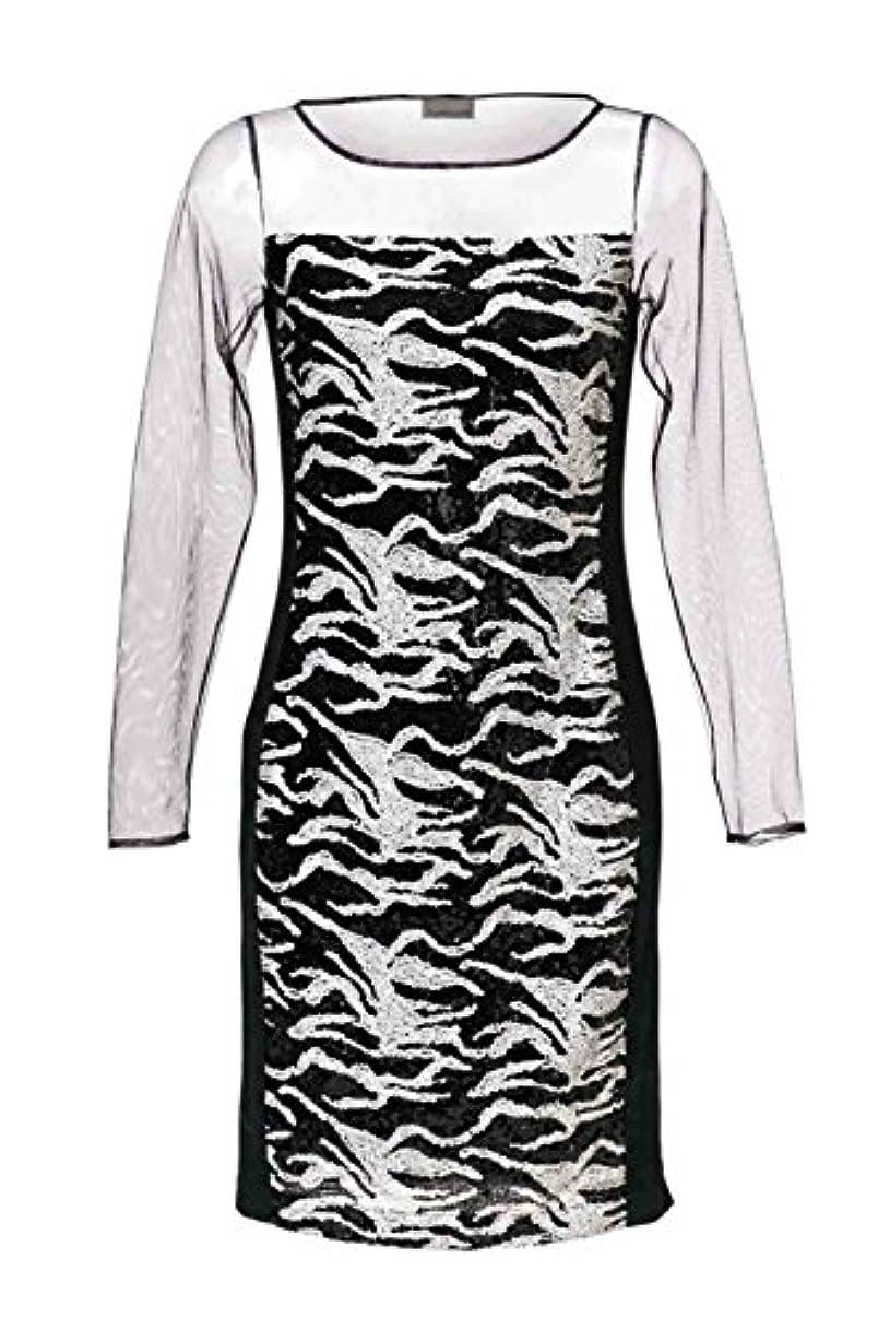 東方松ソーセージマンダリンによるスパンコールのついた黒と白のドレス
