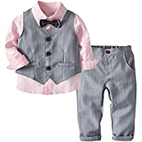 MSSuger Little Boys Gentleman Formal Suit Set Vest, Pant, Shirt Bow Tie, Baby Toddler Long Sleeve Wear Weding 4Pcs Outfit Dark Blue