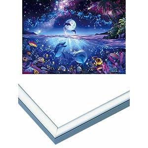 3000ピース 光るジグソーパズル 究極パズルの達人 ラッセン 星に願いを スモールピース(73x102cm)+アルミ製パズルフレーム パネルマックス シルバー (73x102cm)