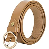 VOCHIC Women's Belt for Jeans Genuine Leather Waist Belt with Circle Gold Buckle 7 Color