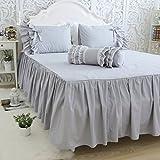 アンティーク風グレーのベッドスカート 無地 綿100% セミダブル