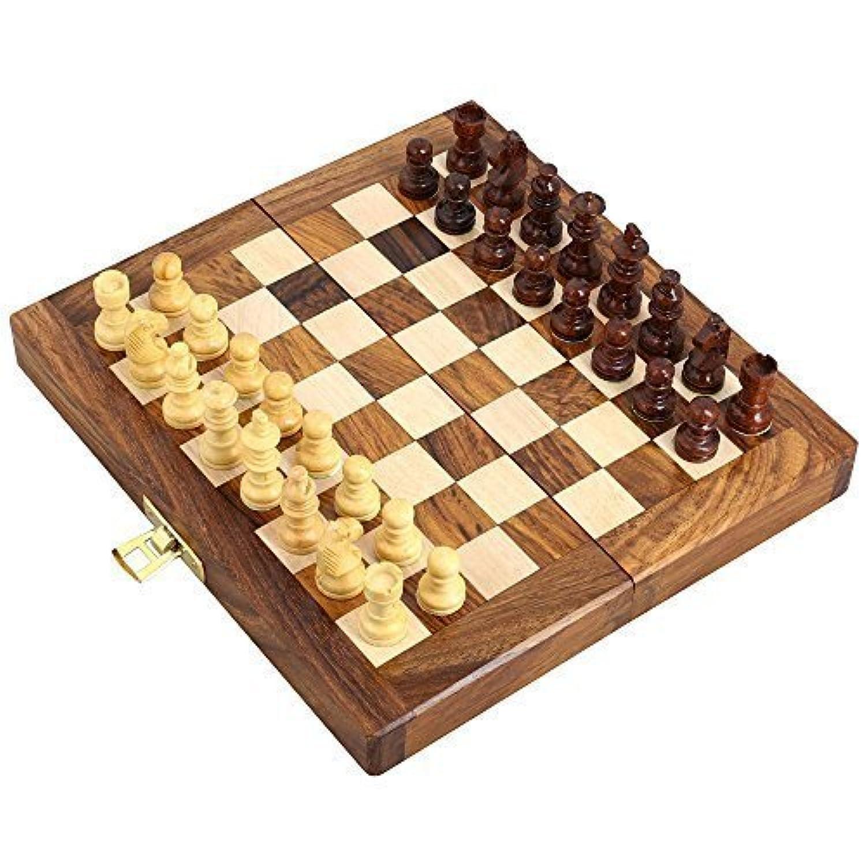 木製磁気トラベルチェスセットwith Stauntonピースand Foldingゲームボード7