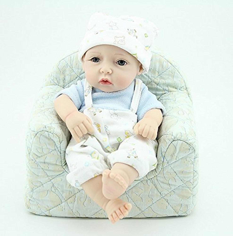 NPKDOLLリボーンベビードールハードシリコーン11インチ28センチメートル防水玩具ストラップドレスブルーボーイ 人形 Reborn Baby Doll A1JP