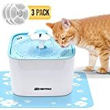 Pet Fountain Cat Water Dispenser - Healthy and Hygienic Drinking Fountain Super Quiet Flower Automatic Electric Water Bowl with 2 Filters for Dogs, Cats, Birds and Small Animals Blue