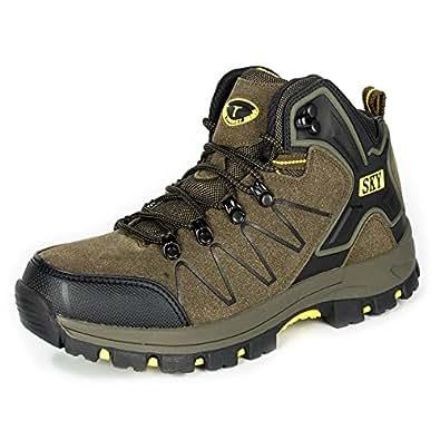 [Torisky] トレッキングシューズ 登山靴 男女兼用 ウォーキングシューズ 防水 防滑 大きいサイズ (グリーン 22.5cm)