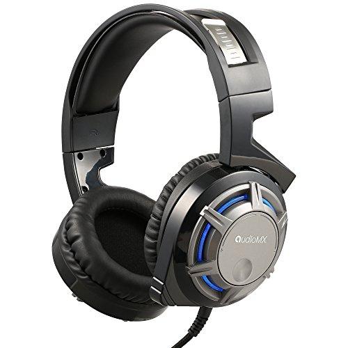 Audiomx ゲーミング ヘッドセットPS4 パソコン ゲーム用 ヘッドホン 7.1chサラウンドサウンド ヘッドアーム伸縮可能 高集音性マイク付 軽量 ブラック GM10