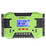Anself 30A/40A 12V 24V LCD ソーラー充電コントローラ パネルバッテリーレギュレータ 自動過負荷保護 温度補償 デュアルUSB&DCスイッチ