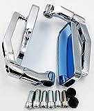 (FIS-I) スクエアー 型 バイク メッキ ミラー 汎用 カスタム ローポジション パーツ 正ネジ 逆ネジ 8mm 10mm 左右 セット (03 シルバー)