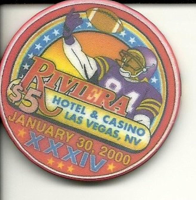 $ 5 Rivieraホテルカジノ年1月30日、2000 XXXIV Quarterbackラスベガスカジノチップ