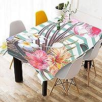 MDKHJ テーブルクロス 熱帯の動物 植物 テーブルカバー 食卓カバー コットンリネン 綿 撥水 耐熱 北欧 150*213cm 長方形