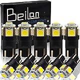 T10 LED ポジションランプ - BeiLan T10 LED バルブ 194 168 2825 5連SMD 5050 チップ ウエッジタイプ 車内ランプ置換 ナンバー灯 ウィンカーランプ ライセンスランプ メーターランプ 高輝度 ホワイト 爆光 10個セット