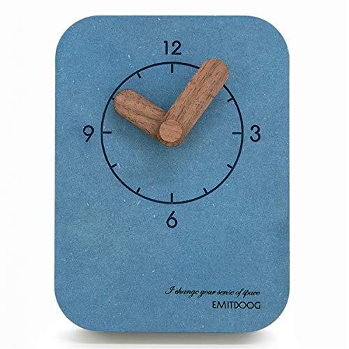 PFLife 置き時計 木製 おしゃれ 小型 卓上クロック 北欧インテリア 置物 部屋装飾 レゼント (ブルー)