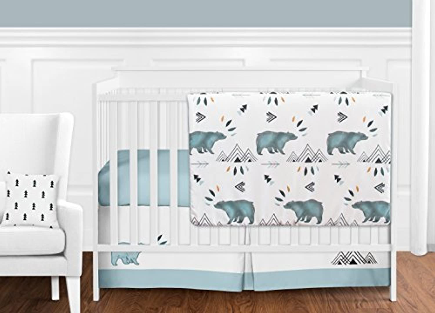 Sweet Jojo Designs 11-Piece Bear Mountain Watercolor Baby Boy Crib Bedding Set without Bumper s [並行輸入品]
