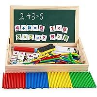 幼児期のゲーム 1セット数学教育ツールボックスカウンティングロッドカウンタ子供啓発玩具(カラフル)