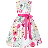 GRACE KARIN Girls Sleeveless Vintage Flower Dresses with Ribbon CL8997