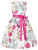 子供服 女の子 ノースリーブ 蝶結びリボン付き フリル ワンピース シンプル 花柄 ドレス 1# 100
