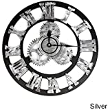 """ZHUOTOP Retro Vintage Gear Wooden Art Large Silent Rome Number Wall Clock 15"""" Silver"""