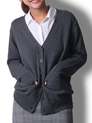 Doublefocus レディース カーディガン スクール オフィス 綿100% 学生服 羽織 秋 冬グレー L