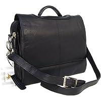 Visconti Messenger Bag- Atlantic Soft Leather- Top Handle/Detachable Shoulder Strap/Cross Body/Business Briefcase/Office/Work Bag - 659 Alfie - Black