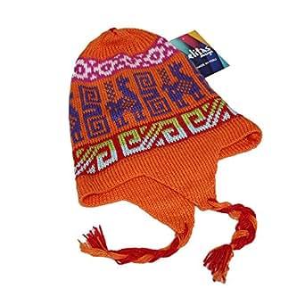 キャップ帽子Chulloアルパカウールブレンドペルー製色 US サイズ: M カラー: オレンジ