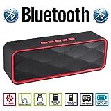 AGM Bluetooth スピーカー ステレオ YOUTUBE視聴可 低音振動板装備 ( FMラジオ ) ( ハンズフリー テレホン ) ( LINE IN ) ( USBメモリー ) ( MICRO SD ) 安心の基本機能一年メーカー保証 日本語説明書付 SC211 (レッド)