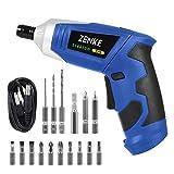 ZENKE 電動ドライバーセット 充電式 正逆転可能 照明機能 12本ビット 3本ツイストドリル 1本延長棒 コードレス (ブルー)