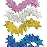 MITUKE スター 星 ガーランド (金*1+銀*1+青*1+紫*1【ラメ入り】)
