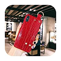 sexy-kawayi for iPhone 11 Pro Max XS MAX XR X 11 Pro 6S 7 8 Plus ケースストラップ付きリストベルトスパンコールグリーン-Red-for iPhone 6 Plus