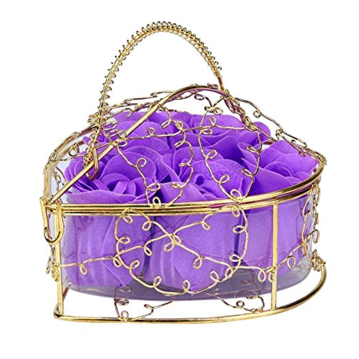 スカイシュガーもろいSODIAL 6個の香り付きローズフラワー 花びらバス ボディソープ ウェディングパーティーギフト ホームDIYデコレーション(パープル)